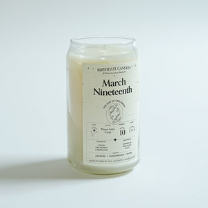 The March Nineteenth Birthday Candle