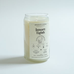 The January Eighth Birthday Candle
