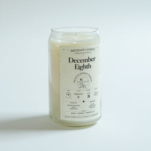 The December Eighth Birthday Candle