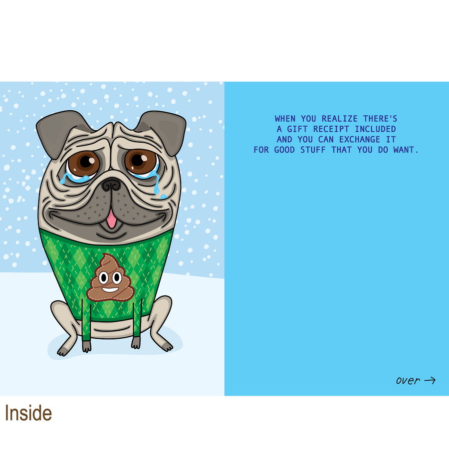 870 Pug Christmas Sweater (Christmas Card)