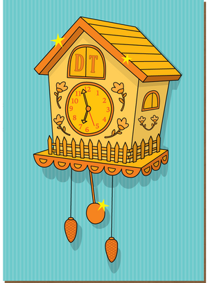 912 Cuckoo Clock (Any Occasion, Birthday Card)