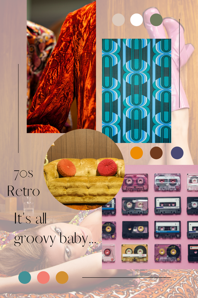 Retro 70s style mood board to showcase color theme to go with family portrait outfit. Features jewel tone vibrant colors.