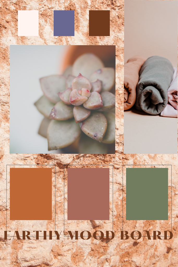Earthy color scheme mood board for family portraits to pair with outfits. Lots of muted greens, oranges, and light blues.