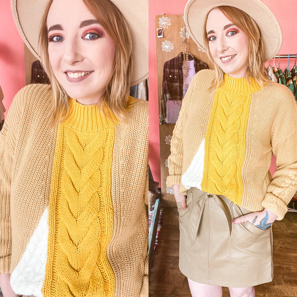 Fall boho look featuring a mustard yellow and taupe patchwork sweater and skirt