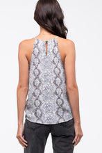 Load image into Gallery viewer, Sheer Snake Print Tie Front Women's Tank Blouse