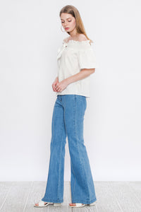 Light Wash Vintage Style Flare Jeans - Modish Boho Boutique