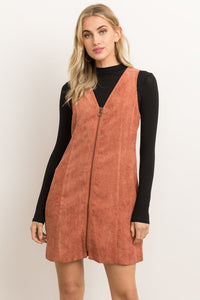 Zip Up Front Sleeveless Corduroy Mini Dress