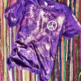 Bleached Purple Peace Sign Graphic Tee