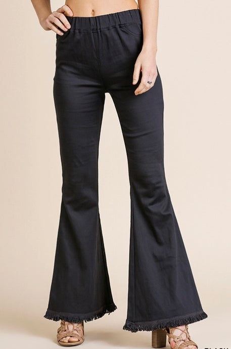 Plus Size Black Stretch Frayed Flared Pants