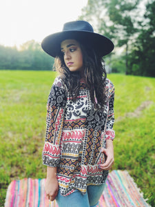 Multi Print Boho Printed Long Sleeve Blouse