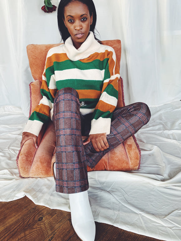 The Eden Green and Rust Striped Turtle Neck Sweater