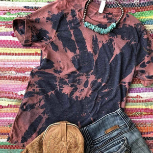 Navy and Rust Colored Bleached Tie Dye Tee