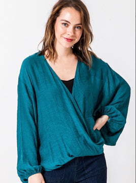 Teal Bell Sleeve Surplice Sheer Top