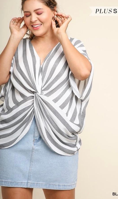 Plus Striped Dolman Sleeve Gathered Front Knot Blouse