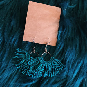 Small turquoise macrame tassel earrings