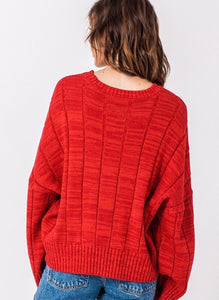 Red vintage style cable sweater