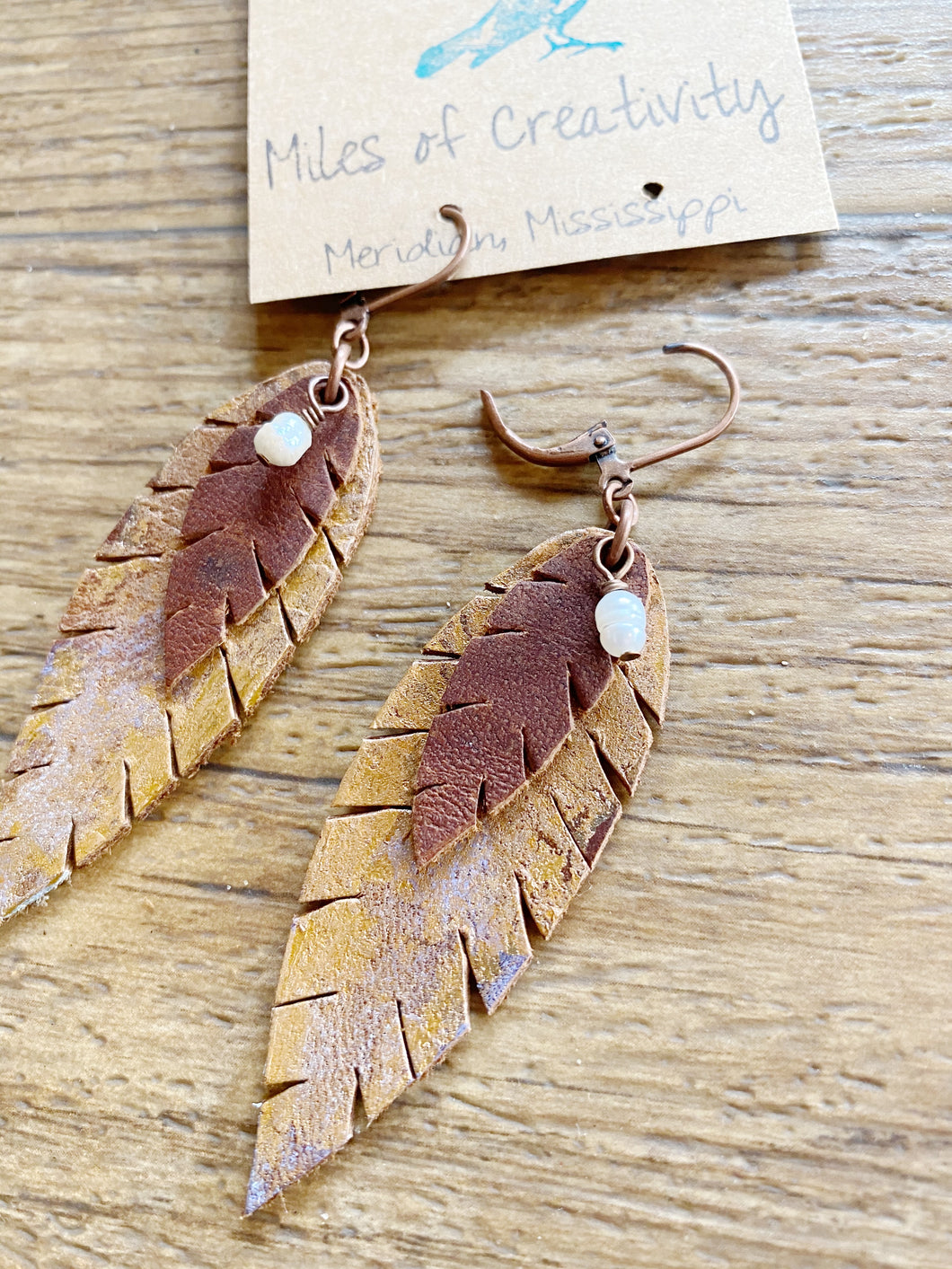 Small Hand Painted  Leather Earring OOAK