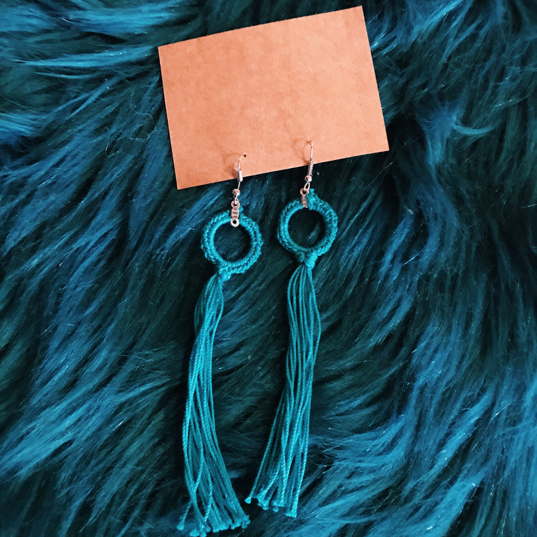 Long tassel turquoise macrame earrings