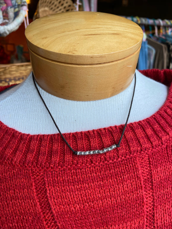 metal bead bar cord necklace