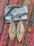 White Feather Leather Chain Earrings