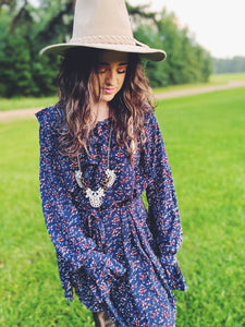 Indigo Blue Floral Printed Long Sleeve Dress