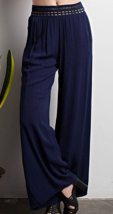 The Paloma Crochet Navy Palazzo Pants