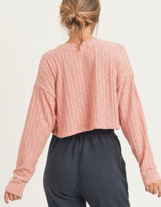 Cardi Coral Buttonup Cardigan Style Crop Top