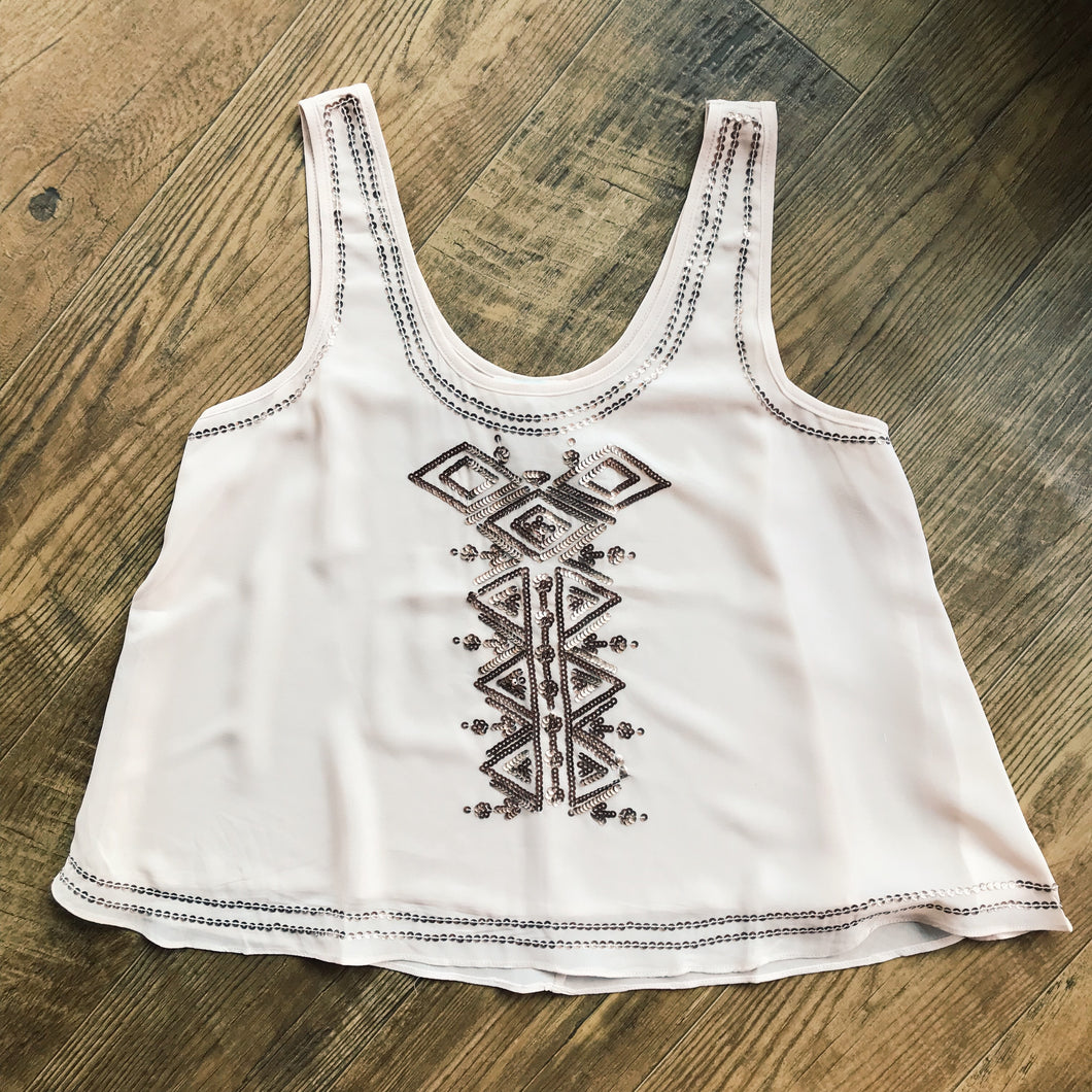 Aztec Detail Sequin Tank - Modish Boho Boutique
