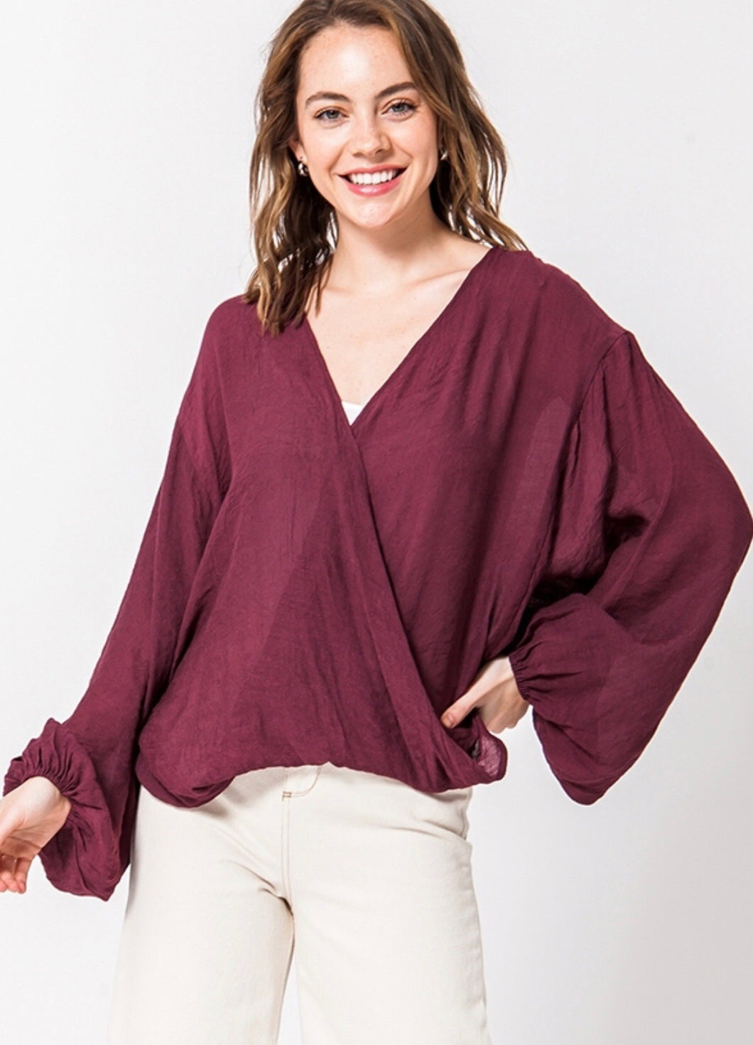 Bell Sleeve Surplice Sheer Top - Modish Boho Boutique
