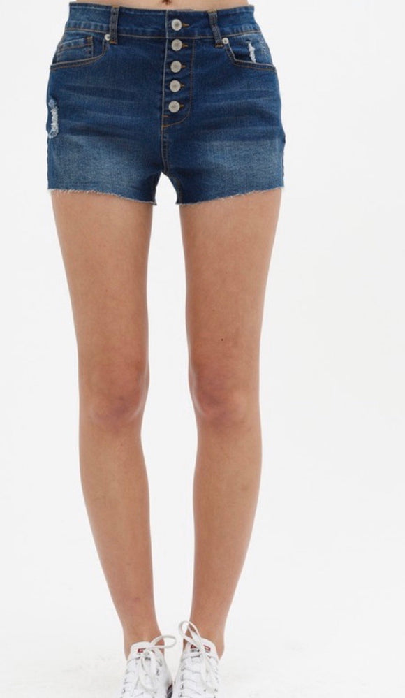 Medium wash button front and distressed denim shorts