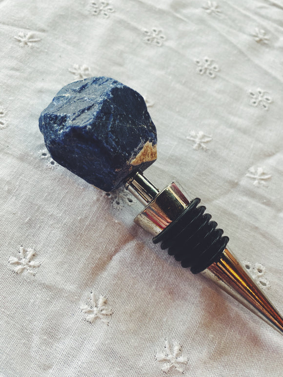 Sodalite gemstone wine bottle stopper.