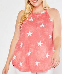 Plus Size Red Stars Tank Top