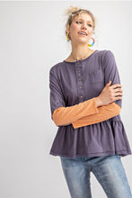 Load image into Gallery viewer, Two Toned Long Sleeve Pepulum Style Shirt - Modish Boho Boutique