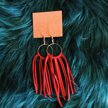 Load image into Gallery viewer, Leather cord tassel earrings