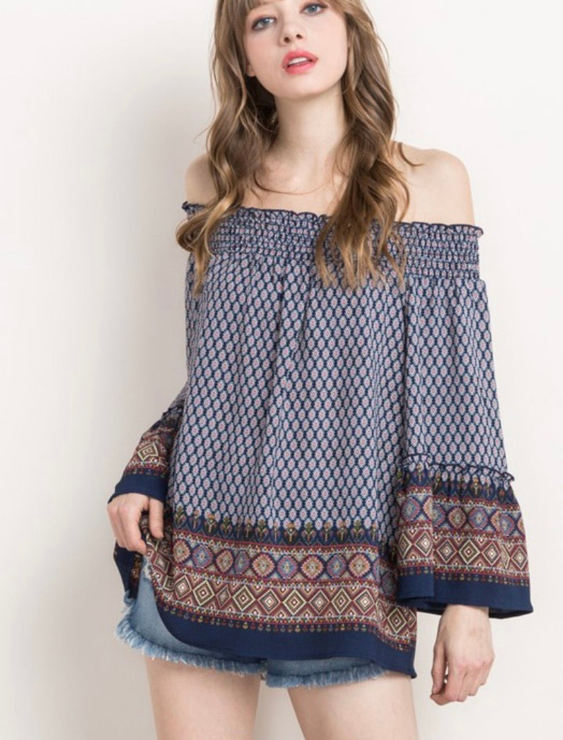 Venus Navy Colored Off Shoulder Boho Blouse
