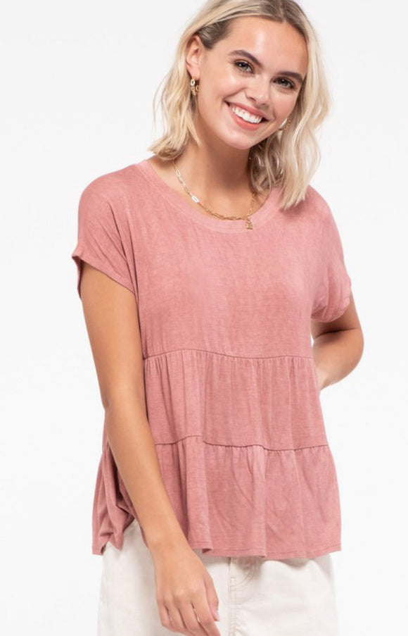 Hope Mauve Pink Tiered Mineral Wash Tee