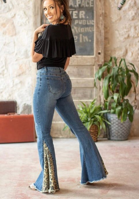 Plus leopard denim flare jeans - Modish Boho Boutique