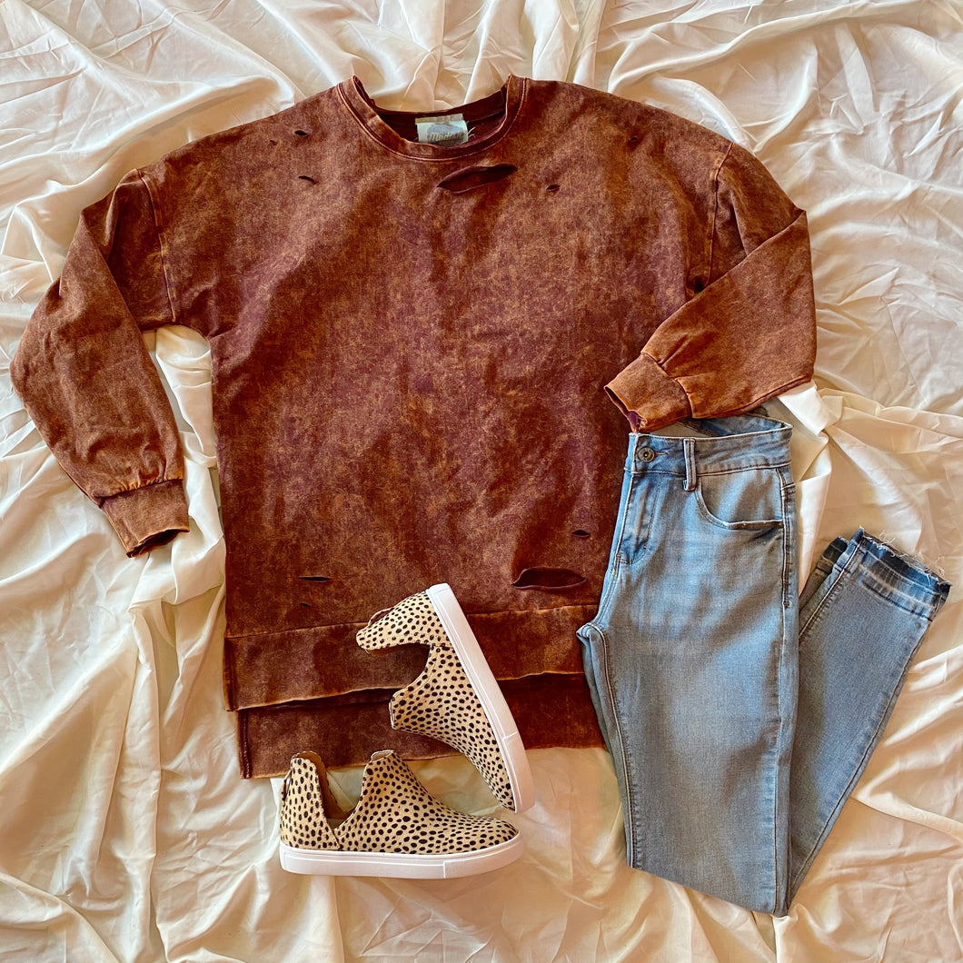 Ophelia Distressed Mineral Washed Longsleeve