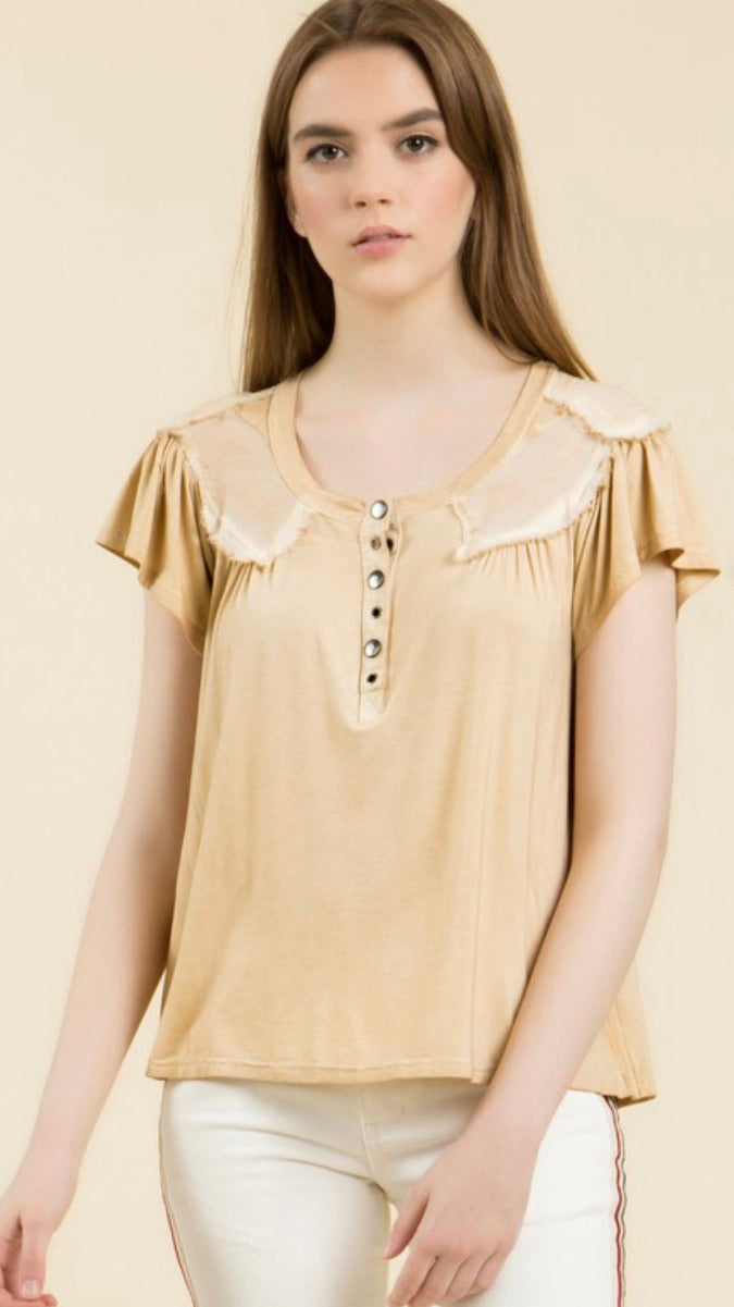 Mineral Washed Buttonup Babydoll Style Tshirt