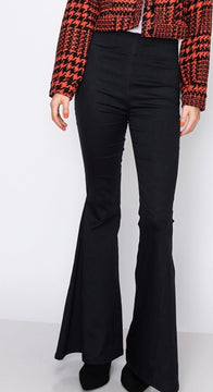 Simple Flared Pants with Elastic Waist and Back Pockets