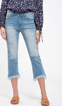 Load image into Gallery viewer, Fringe Raw Hem Denim Cropped Jeans