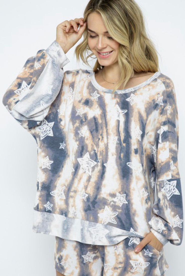 Marley Tie Dye Star Printed Top