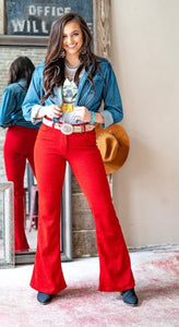 Red Glitter Flare Pants
