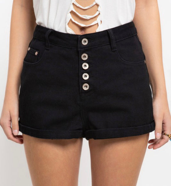 The Classic Button fly Rolled hem denim black shorts