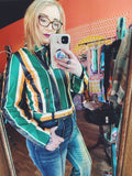 Nicki Green Gold and Black Striped Faux Leather Moto Jacket