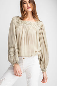 Sheer embroidered dressy bohemian women's blouse