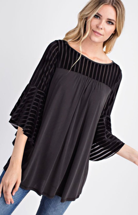 Vivienne Velvet Striped Bell Sleeve Top