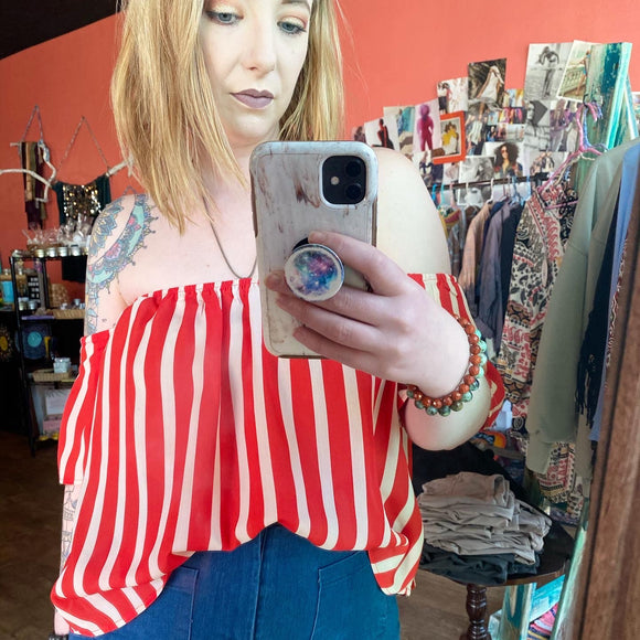Stacie Red and Tan Striped Off Shoulder Blouse