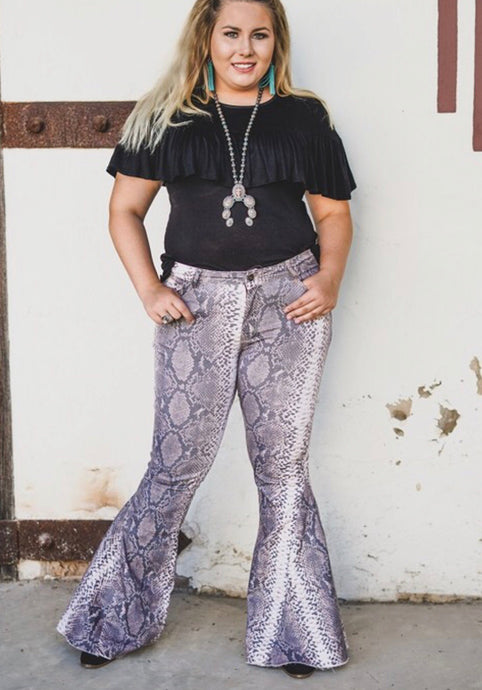 Plus snake printed flare jeans - Modish Boho Boutique