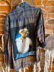 Jason Aldean Upcycled Concert Tshirt Blue and Green Bleached Flannel